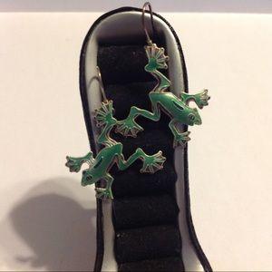 Silver Tone Green Frog Earrings